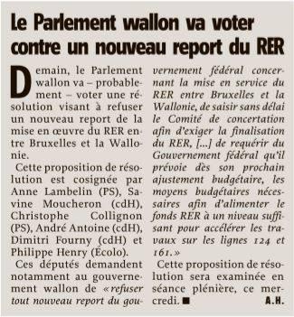 Le Pralement wallon va voter contre un nouveau report du RER  16032016